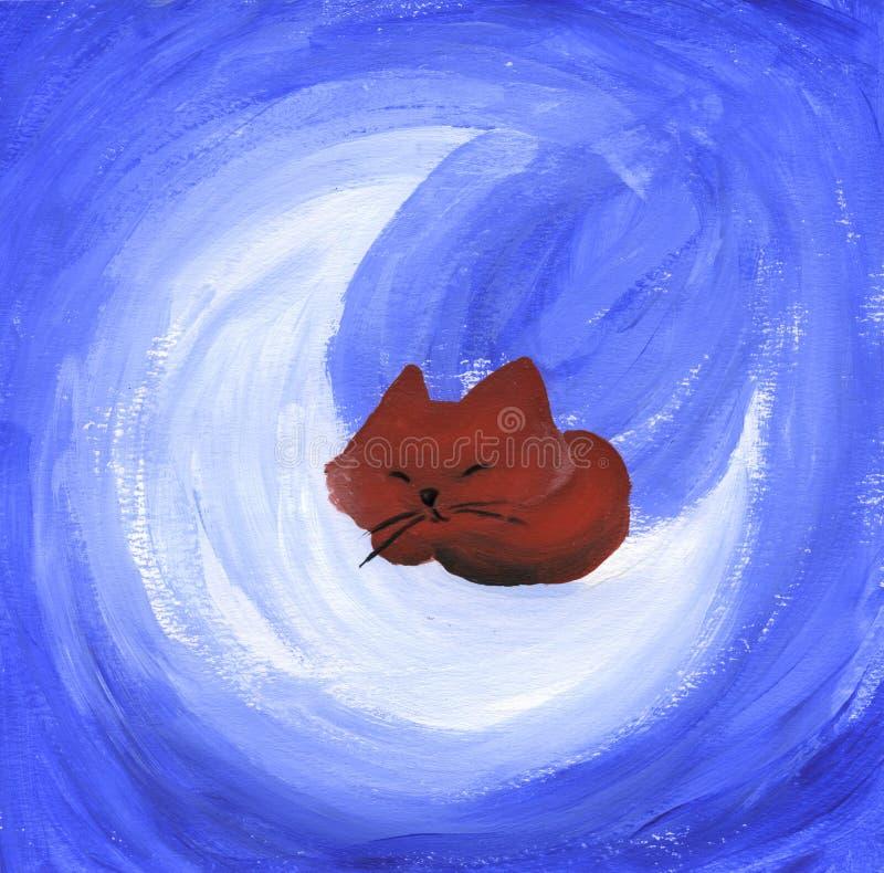 Gatto sveglio sonnolento illustrazione vettoriale