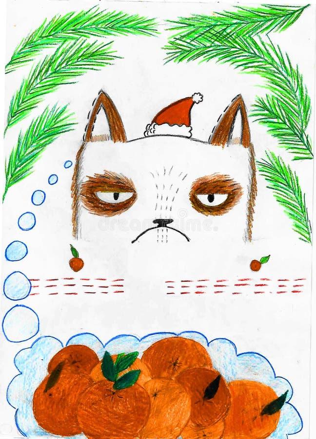 Gatto triste che pensa ai mandarini, disegno del bambino royalty illustrazione gratis