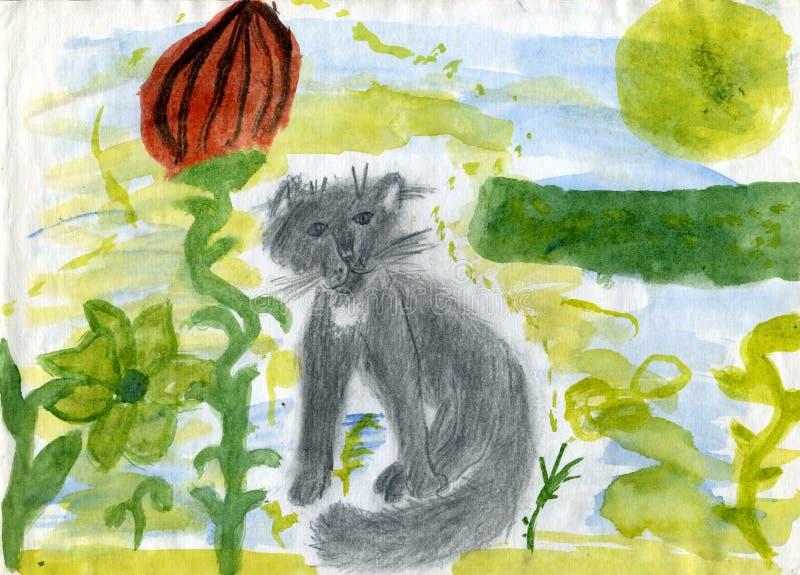 Gatto in un giardino di fantasia illustrazione di stock