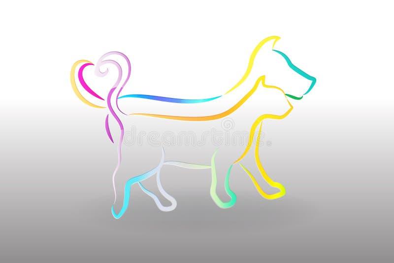 Gatto variopinto e cane di logo royalty illustrazione gratis