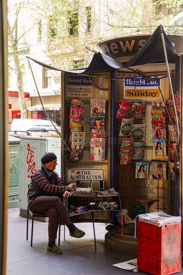 Gatuförsäljare i Melbourne royaltyfria foton