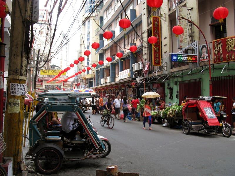 Gatuförsäljare kineskvarter, Binondo, Manila arkivfoton
