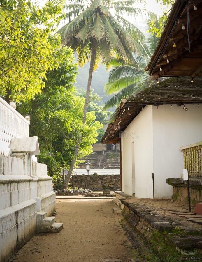 Gatukorridoren i närheten av Tooth Relic s berömda buddhist-templet arkivfoto