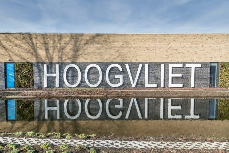 Gatunek i logo Hoogvliet supermarket w holandiach obraz stock