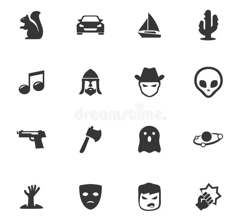 Gatunki kinowe ikony ustawiać ilustracji