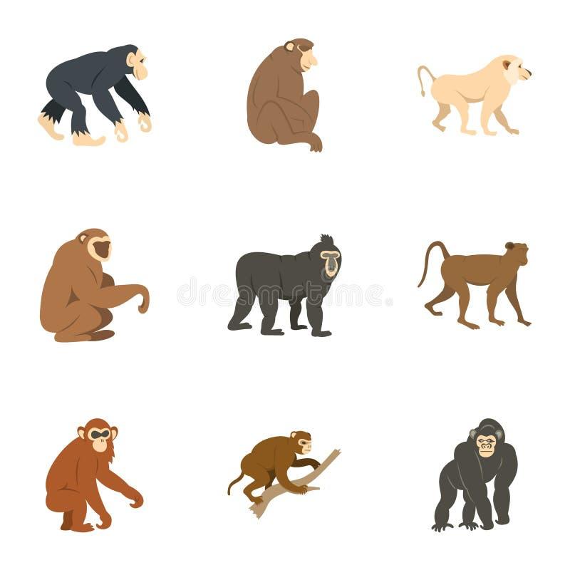 Gatunki małpi ikona set, mieszkanie styl ilustracji