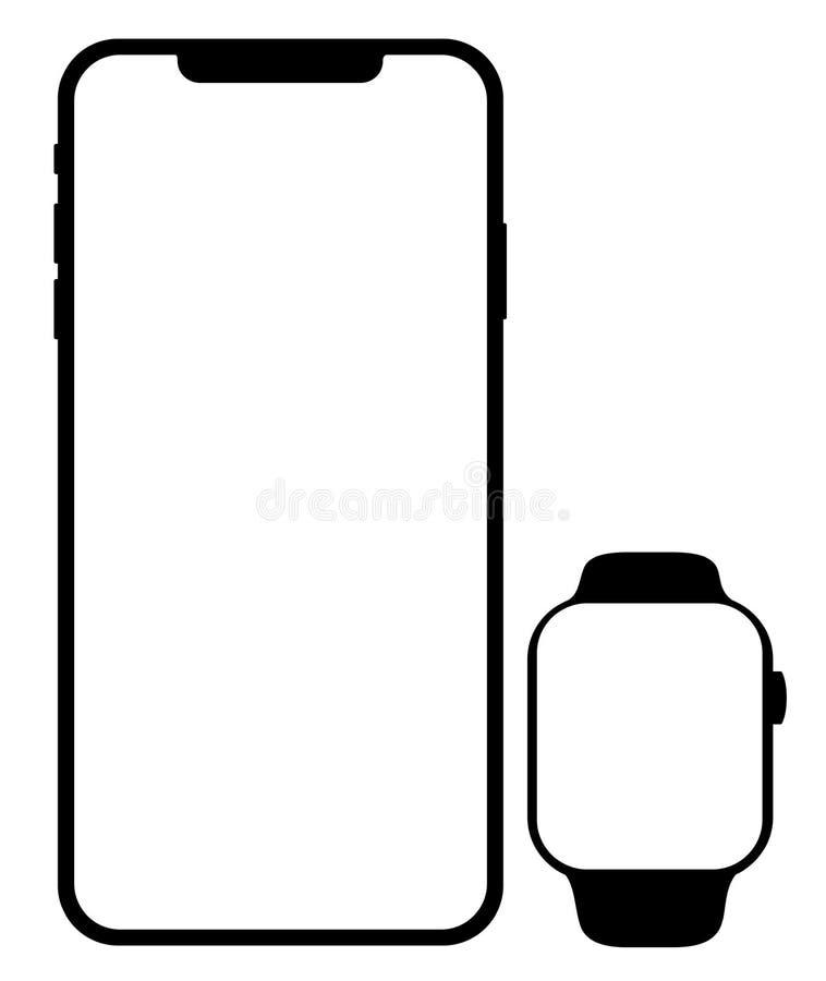 Gatunku telefonu komórkowego czerni smartphone z smartwatch ilustracja wektor