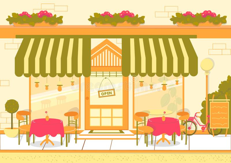 Gaturestauranger eller European Cuisine Cafe Facade vektor illustrationer