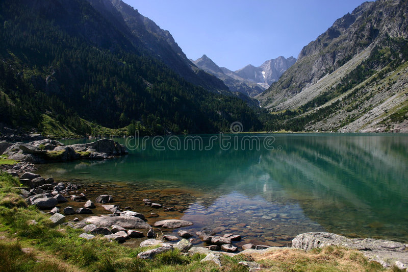 Gaube Lake in Pyrenees Mountains stock photo