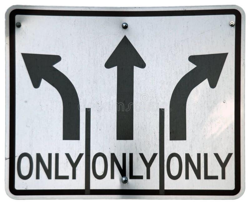 Gauche/directement/voies pour tourne-à-droite photo libre de droits