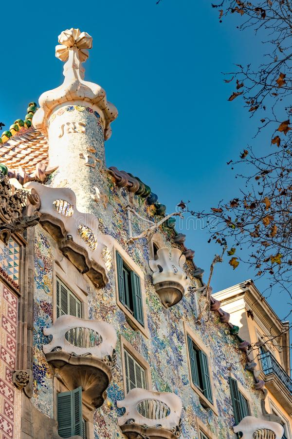 Gaudi Batllo House Building, Barcelona, Spain. Exterior low angle detail view of batllo house, a famous gaudi masterpiece atchitecture located in barcelona city stock photos