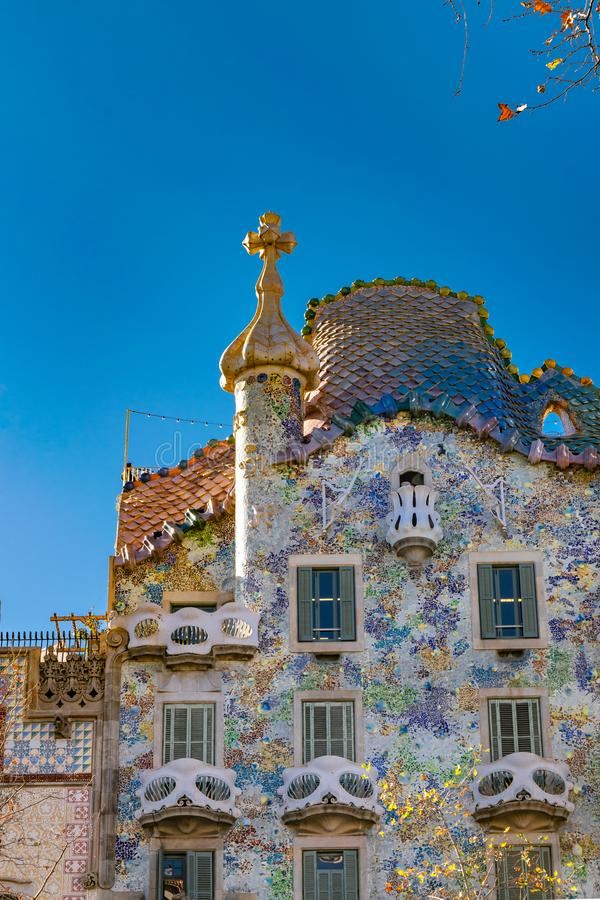 Gaudi Batllo House Building, Barcelona, Spain. Exterior low angle detail view of batllo house, a famous gaudi masterpiece atchitecture located in barcelona city stock photo