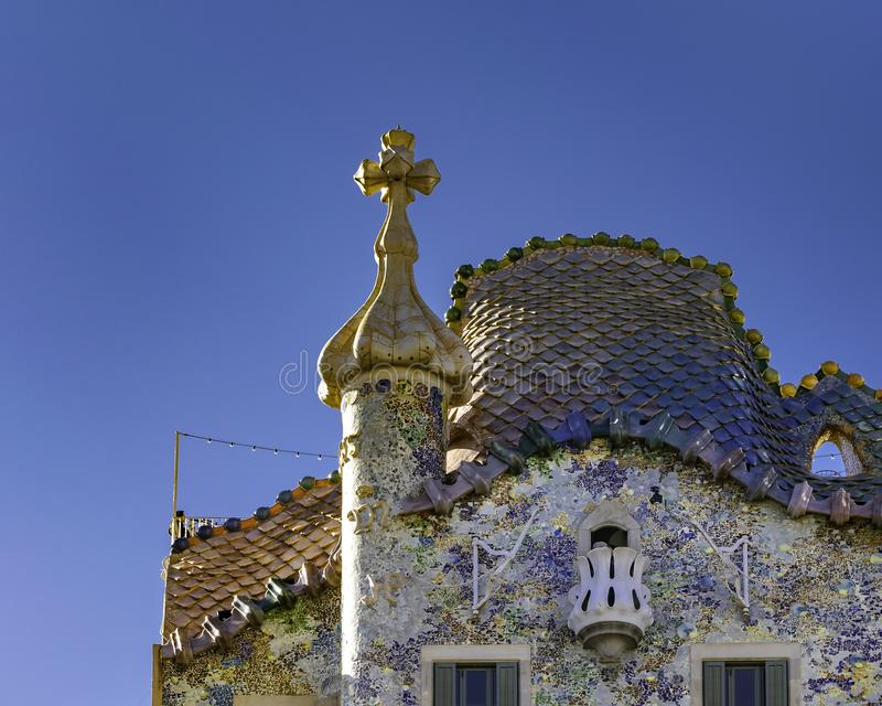 Gaudi Batllo House Building, Barcelona, Spain. Exterior low angle detail view of batllo house, a famous masterpiece atchitecture located in barcelona city, spain stock photography