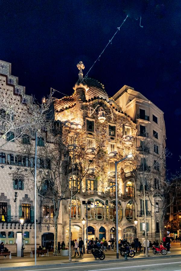 Gaudi Batllo House Building, Barcelona, Spain. BARCELONA, SPAIN, JANUARY - 2018 - Night scene exterior view of batllo house, a famous gaudi masterpiece stock image