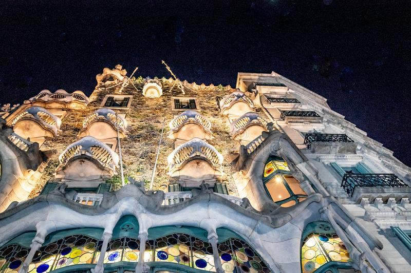 Gaudi Batllo House Building, Barcelona, Spain. Night scene exterior view of batllo house, a famous gaudi masterpiece atchitecture located in barcelona city stock photography