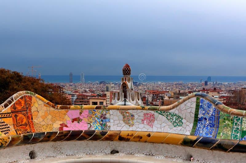 Gaudi Ceramic Bench, Park guell, Skyline Barcelona, Spain stock photo