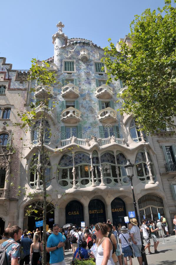 GAUDI HOUSE CASA BATILLO IN BARCELONA SPAIN. Barcelona/catalonia/ Spain/ 22July 2019/ Visitors visitor  waiting at  Gaudi House or Casa Batllo gaudi Barcelona stock image