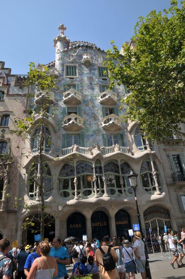 GAUDI HOUSE CASA BATILLO IN BARCELONA SPAIN. Barcelona/catalonia/ Spain/ 22July 2019/ Visitors visitor  waiting at  Gaudi House or Casa Batllo gaudi Barcelona stock photo