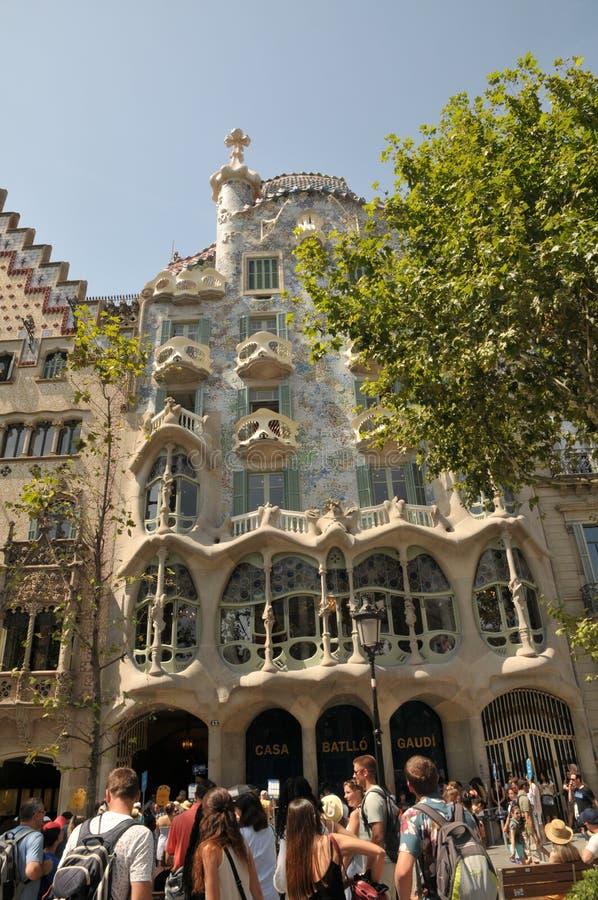 GAUDI HOUSE CASA BATILLO IN BARCELONA SPAIN. Barcelona/catalonia/ Spain/ 22July 2019/ Visitors visitor  waiting at  Gaudi House or Casa Batllo gaudi Barcelona stock photos