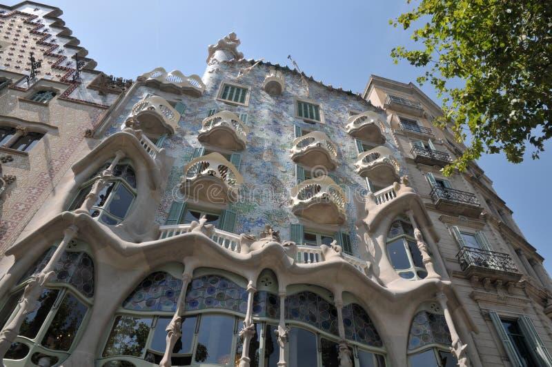 GAUDI HOUSE CASA BATILLO IN BARCELONA SPAIN. Barcelona/catalonia/ Spain/ 22July 2019/ Visitors visitor  waiting at  Gaudi House or Casa Batllo gaudi Barcelona royalty free stock image