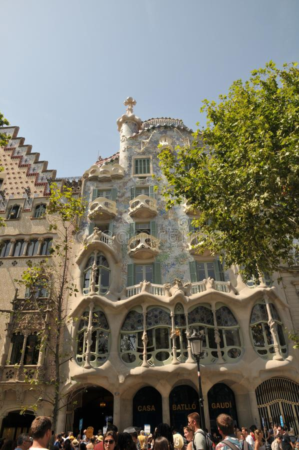GAUDI HOUSE CASA BATILLO IN BARCELONA SPAIN. Barcelona/catalonia/ Spain/ 22July 2019/ Visitors visitor  waiting at  Gaudi House or Casa Batllo gaudi Barcelona royalty free stock images