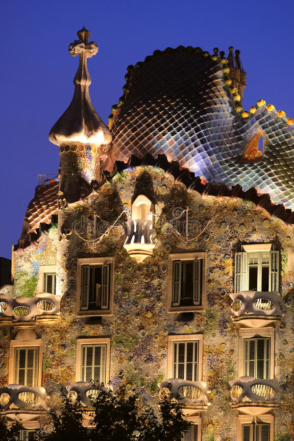 Gaudi house. Casa Batllo. A view of the top of Casa Batllo, a famous building in Barcelona, Spain, designed by designer Antonio Gaudi in what is sometimes royalty free stock image
