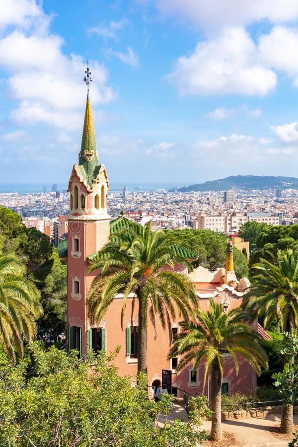 Gaudi House Museum in Guell park, Barcelona, Spain stock images