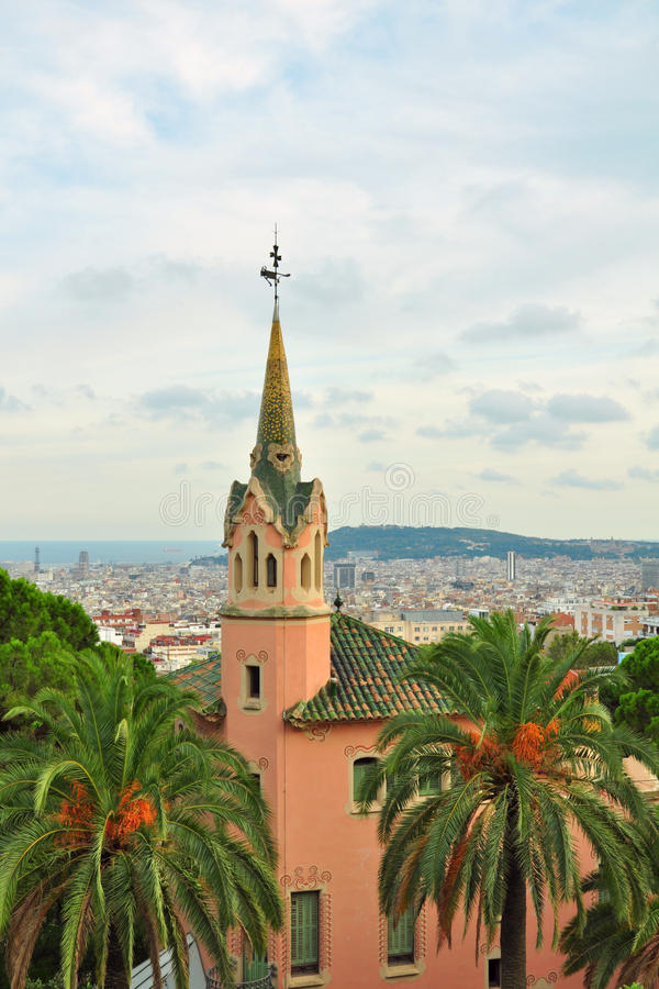 Gaudi house with tower in Park Guell, Barcelona
