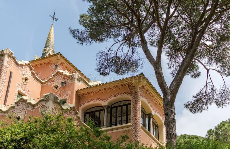 "Gaudi huis-Museum, genoemd ""Torre Rosa† in Park Guell stock afbeelding"
