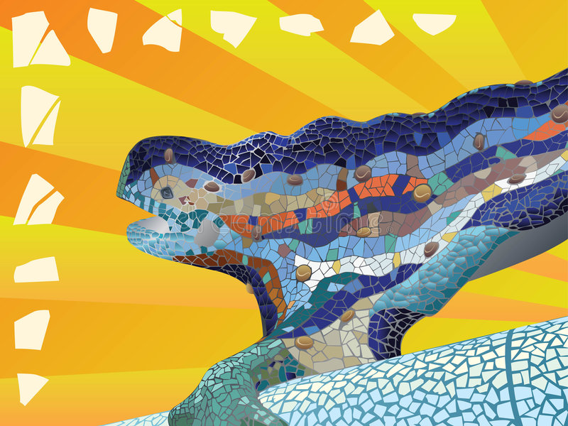 Gaudi_lizard_mosaic immagine stock
