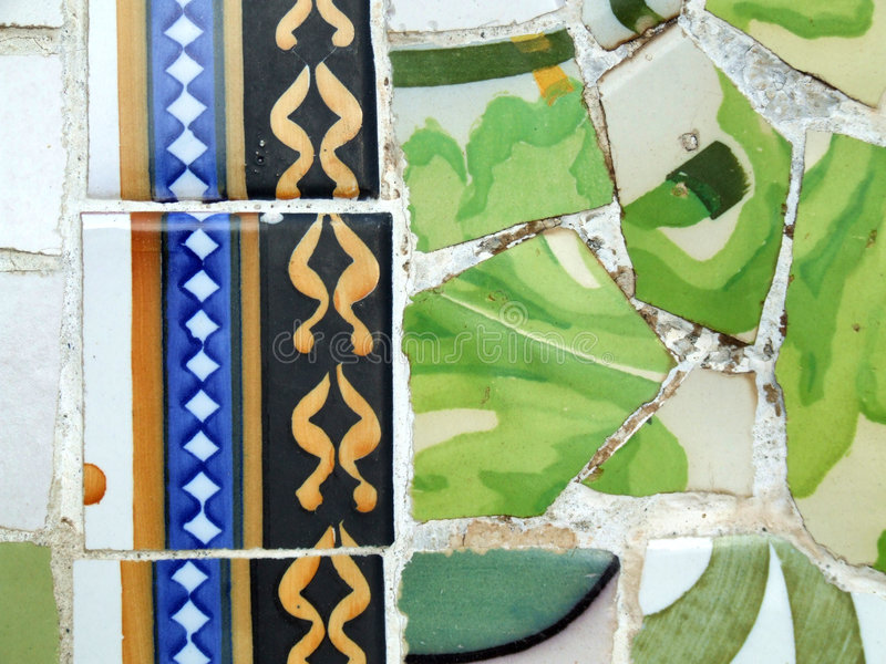 Gaudi mosaic - Barcelona detail royalty free stock image