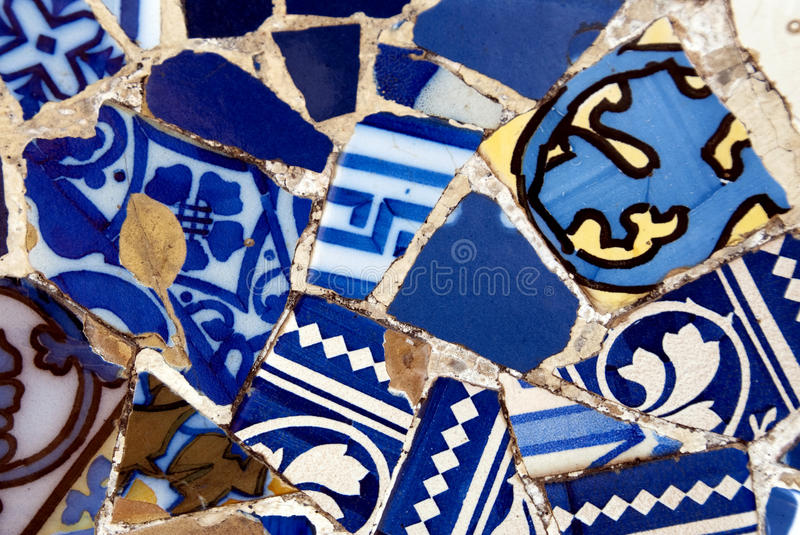Gaudi mosaic wall stock photos