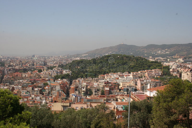 Gaudi S Park Guell In Barcelona - View Over Barcelona Royalty Free Stock Images