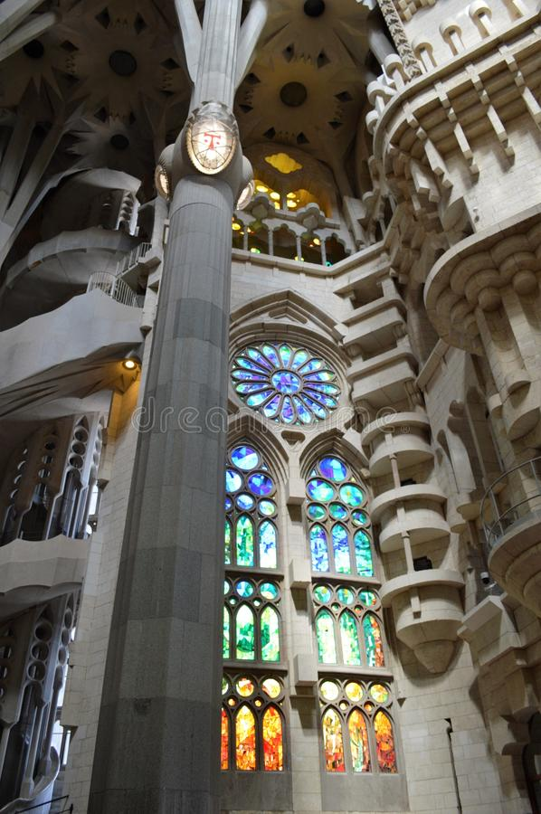 Gaudi Sagrada Familia Church in Barcelona. Basilica and Expiatory Church of the Holy Family is a large Roman Catholic church in Barcelona, designed by Spanish royalty free stock image