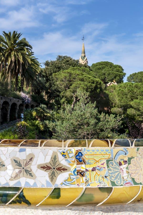 Gaudihuis in Parc Guell, Barcelona, Spanje stock fotografie