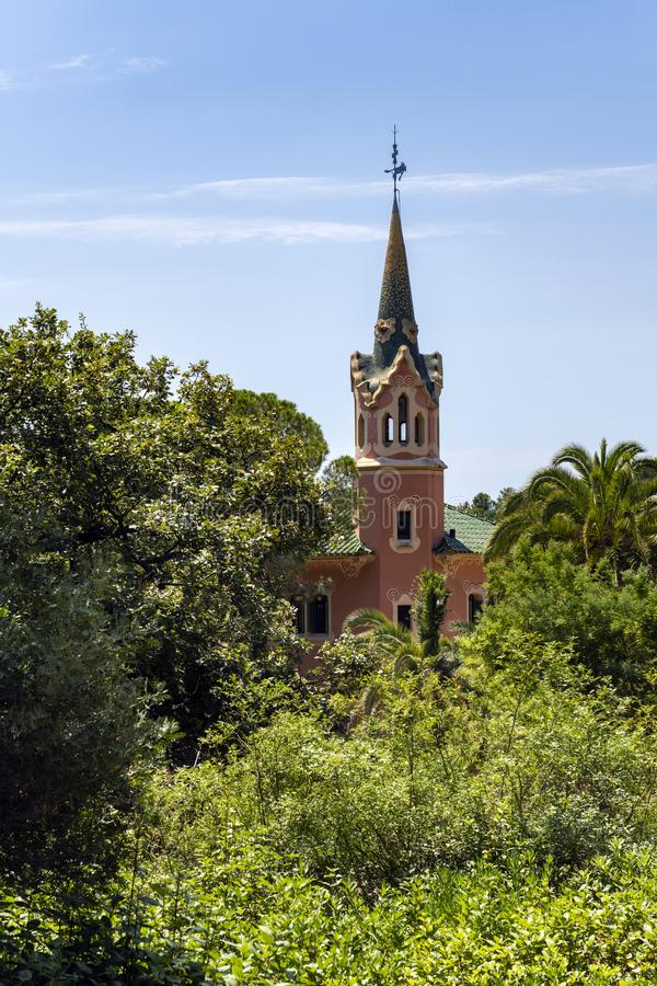 Gaudihuis in park Guell royalty-vrije stock afbeelding