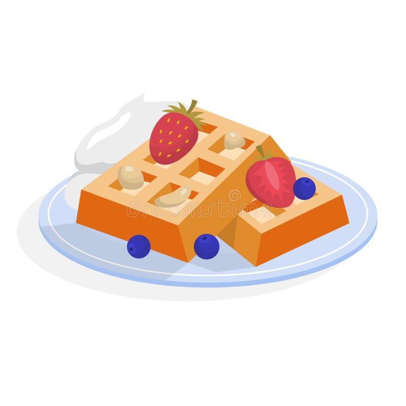 Gaufre belge avec de la crème et des baies Dessert savoureux illustration de vecteur