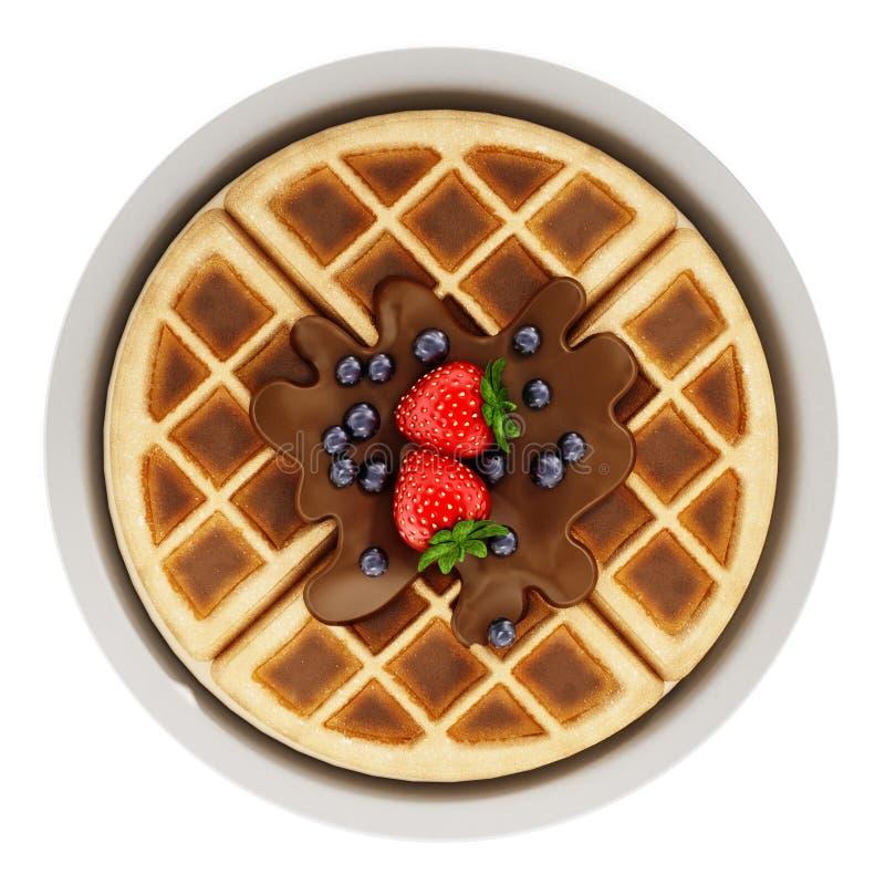 Gaufre belge avec la crème au chocolat et les baies d'isolement sur le fond blanc illustration 3D illustration stock