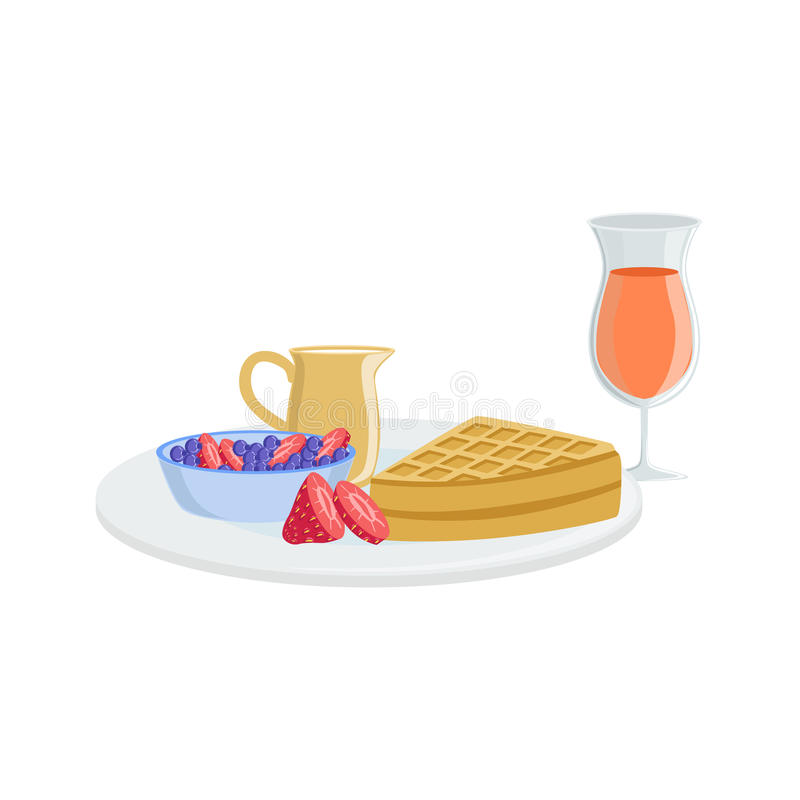 Gaufre, ensemble de boissons de Berry And Juice Breakfast Food illustration de vecteur