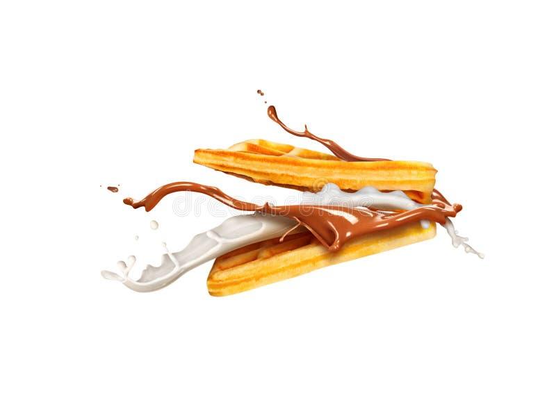 Gaufres belges avec du lait et le chocolat d'isolement sur le blanc photo libre de droits