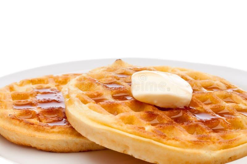 gaufres de sirop de beurre de déjeuner photo stock