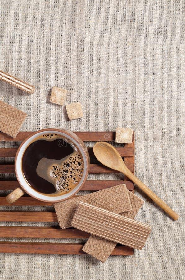 Gaufrettes de café et de chocolat photographie stock libre de droits