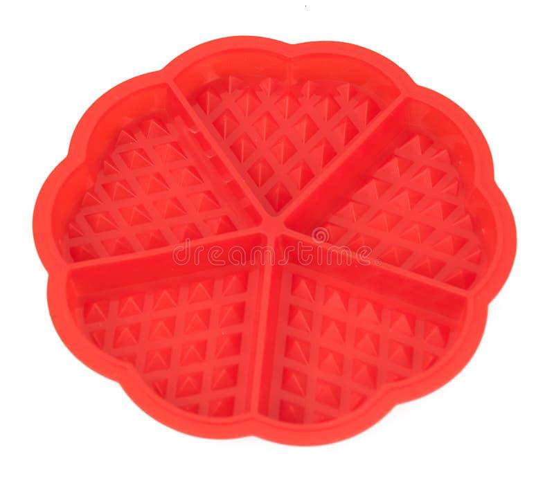 Gaufrettes viennoises de forme rouge de silicone photos stock