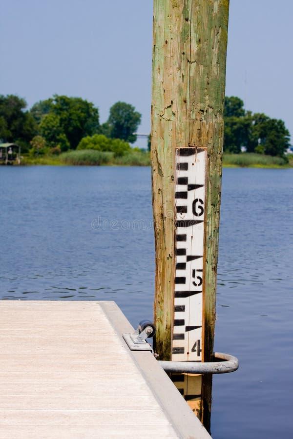 Gauge för vattendjup fotografering för bildbyråer