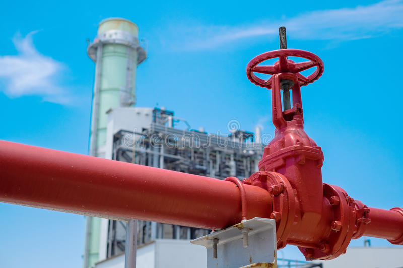 Gauge valve of fire protection. In power plant stock photo