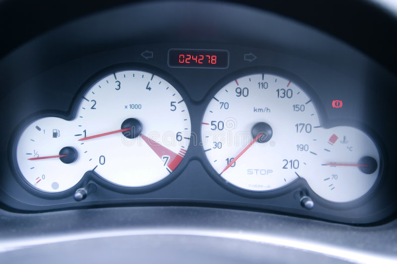 Gauges on car panel royalty free stock photos