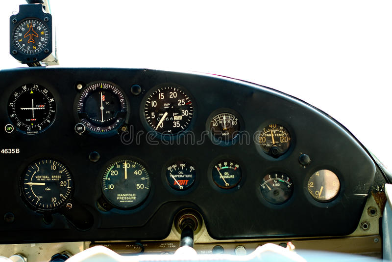 Gauges in Cessna cockpit. stock photos