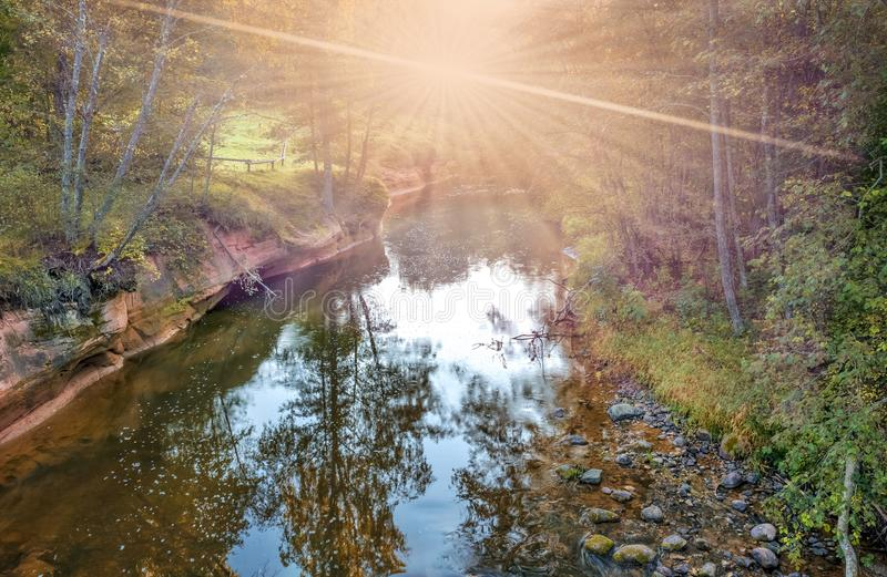 Amata river in Gauja National Nature Park. Gauja National Nature Park is aimed at maintaining healthy and ecologically clean forersts as welll as rivers with royalty free stock image