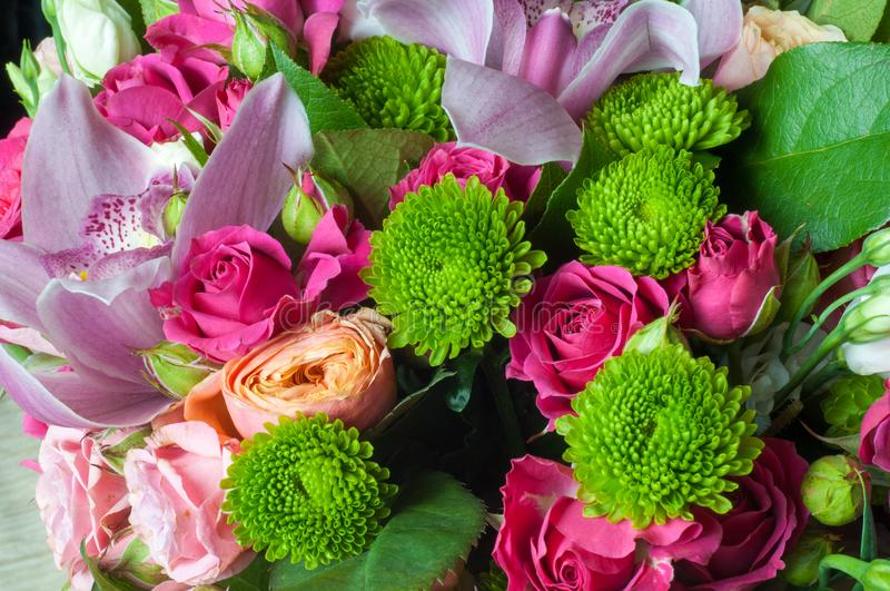 Gaussian blur is convenient for designers Beautiful bouquet of flowers ready for the big wedding. Ceremony royalty free stock images
