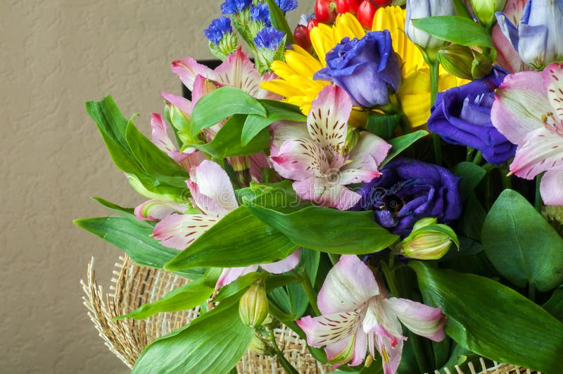 Gaussian blur is convenient for designers Beautiful bouquet of flowers ready for the. Big wedding ceremony stock image